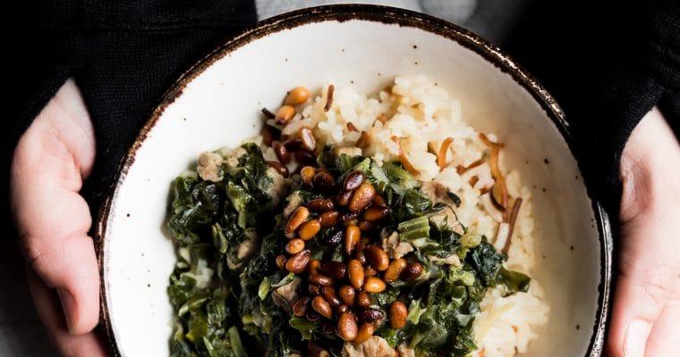 Lebanese Spinach and Beef Stew (Sabanegh be-riz)