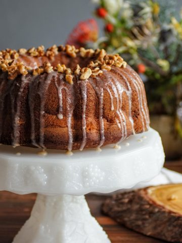 Apple cake with walnuts and browned butter