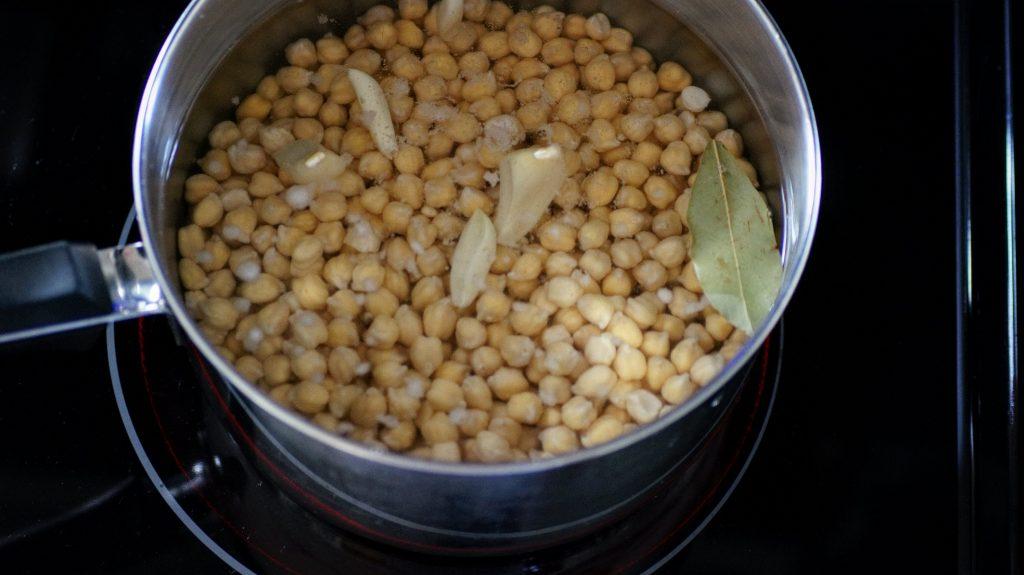 Boiling garbanzo beans