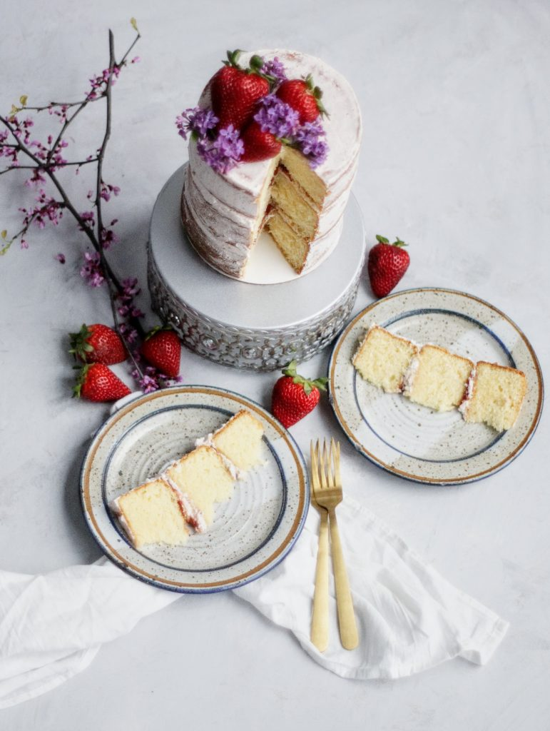 cake, strawberry, layer cake