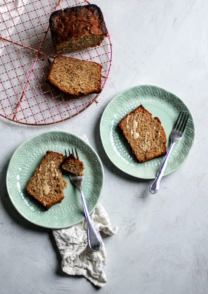banana bread, tahini, Mediterranean, breakfast