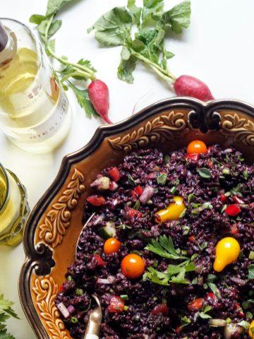 rice, salad, wine