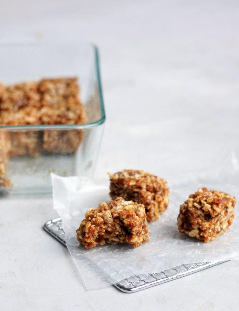 rice krispies, dates, tahini, lebanese, school, treat