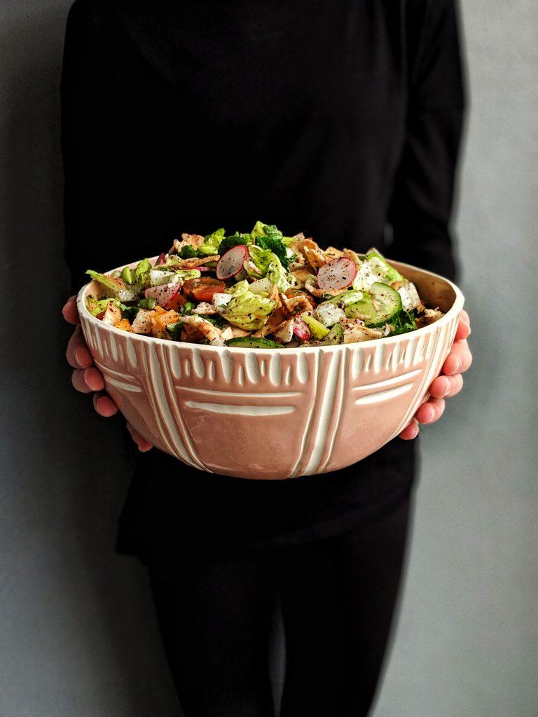 salad, vegan, Lebanese, fattoush