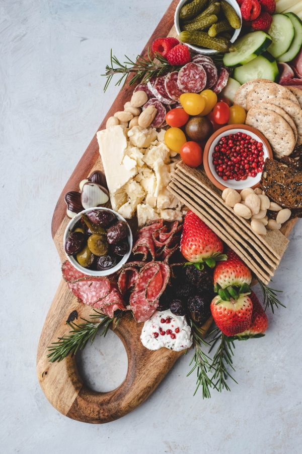 charcuterie board, cheese board, cheese, salami, appetizer, snack