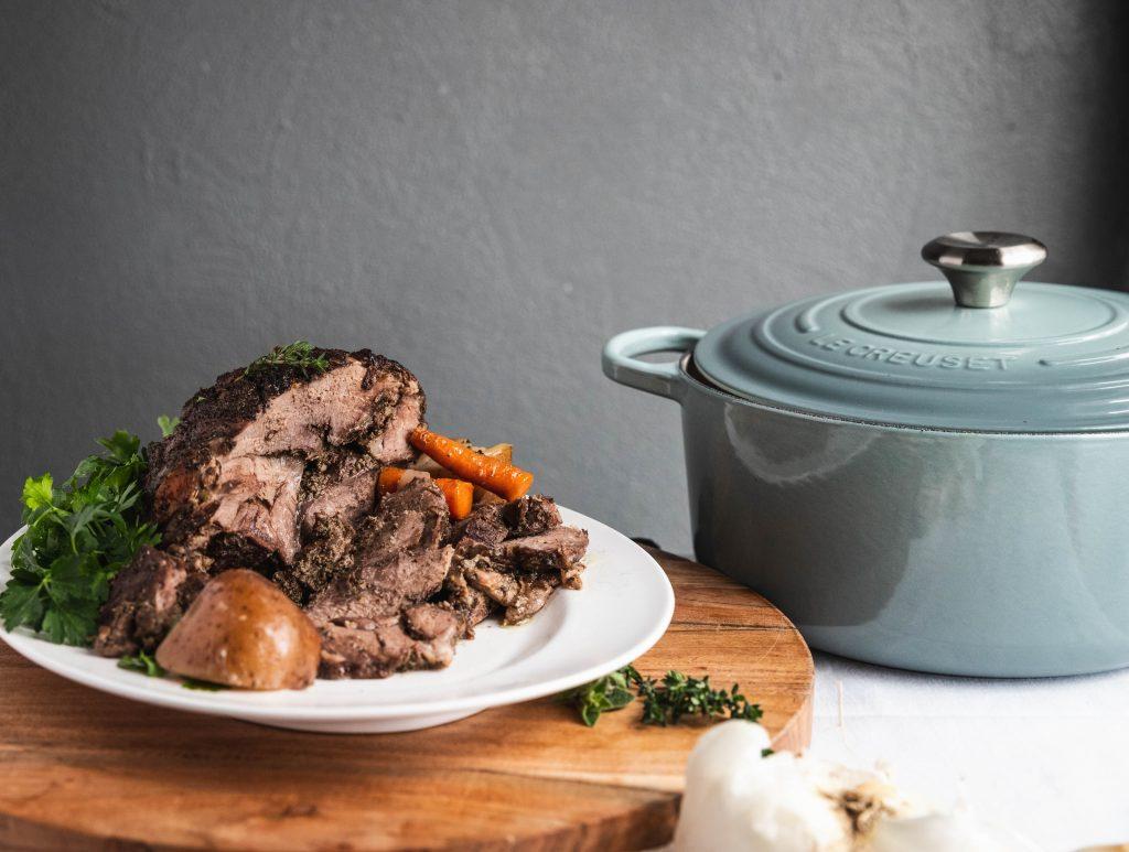 lamb, Easter, dutch oven, Lebanese, le creuset