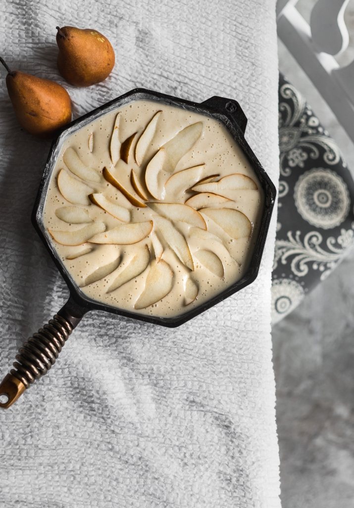 Pear Skillet Cake pre-baked