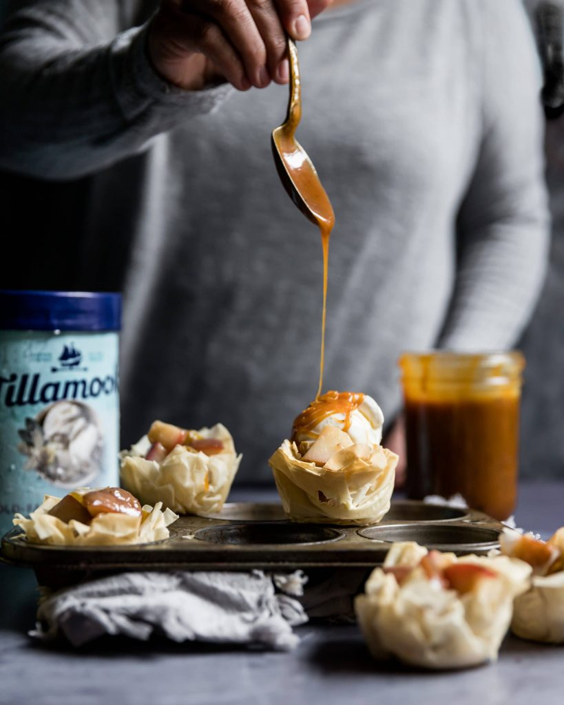 Phyllo Cups with Pears, Vanilla Ice Cream and Caramel