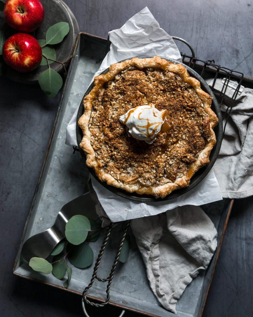Apple Crumb Pie with Vanilla Ice Cream