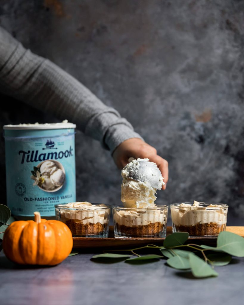 No Bake Pumpkin Pie with Vanilla Ice Cream