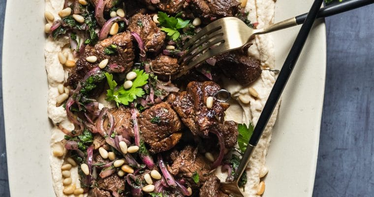 Lamb Skewers with Hummus