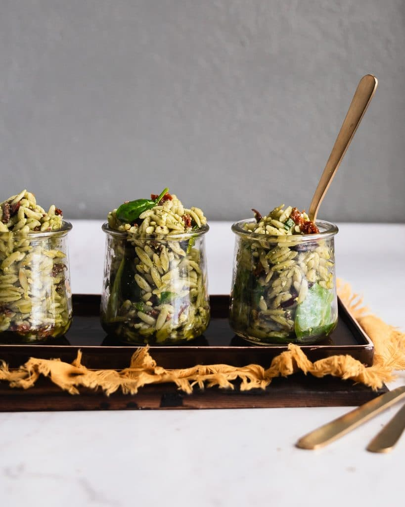 Orzo Salad in Jars