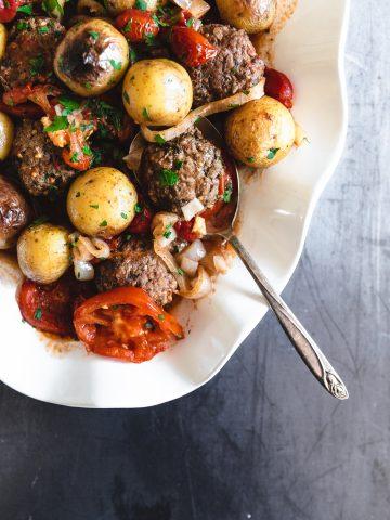 Oven Baked Kofta and Potatoes