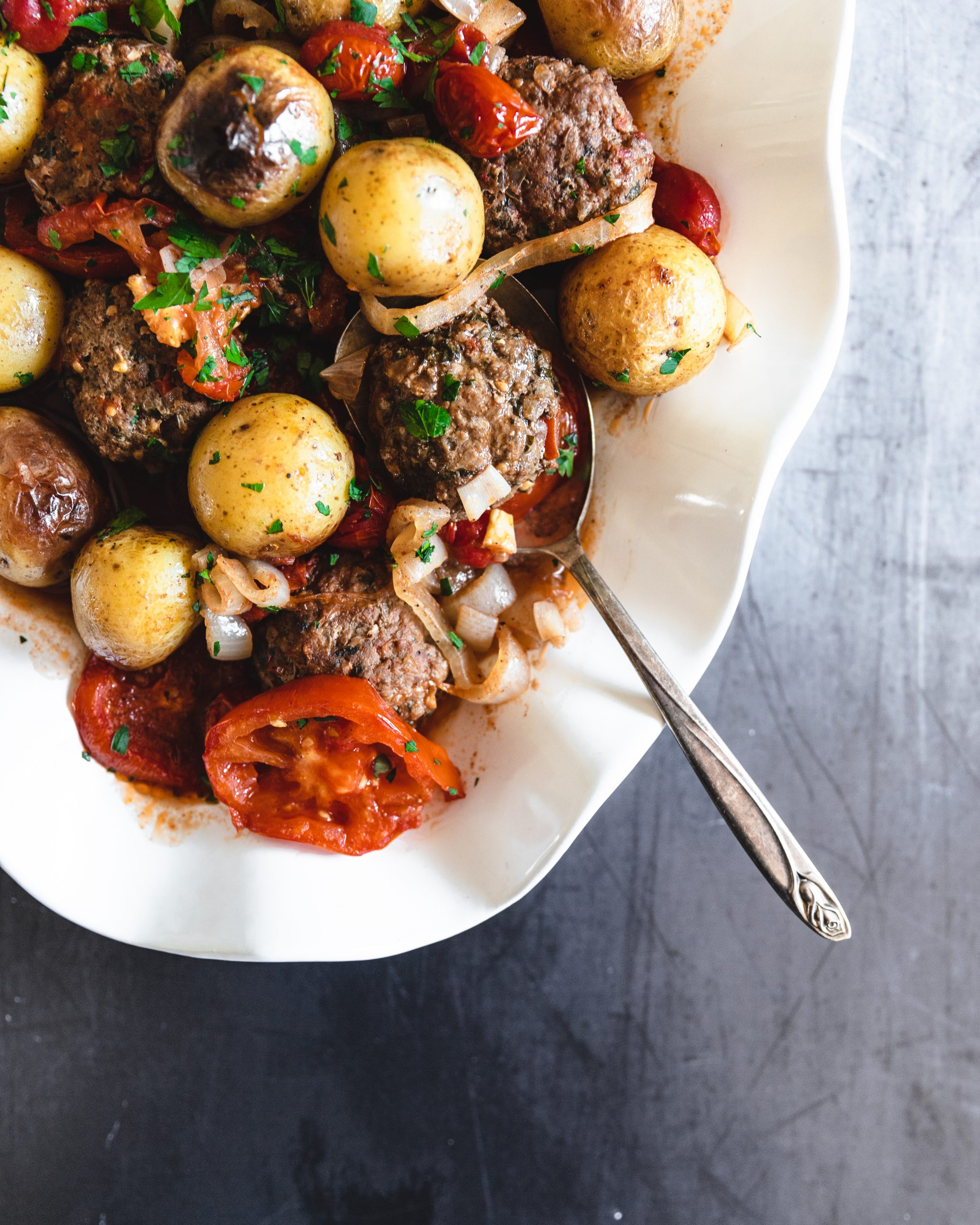 Baked Kafta with Potatoes (Kafta Bi-Siniyeh)