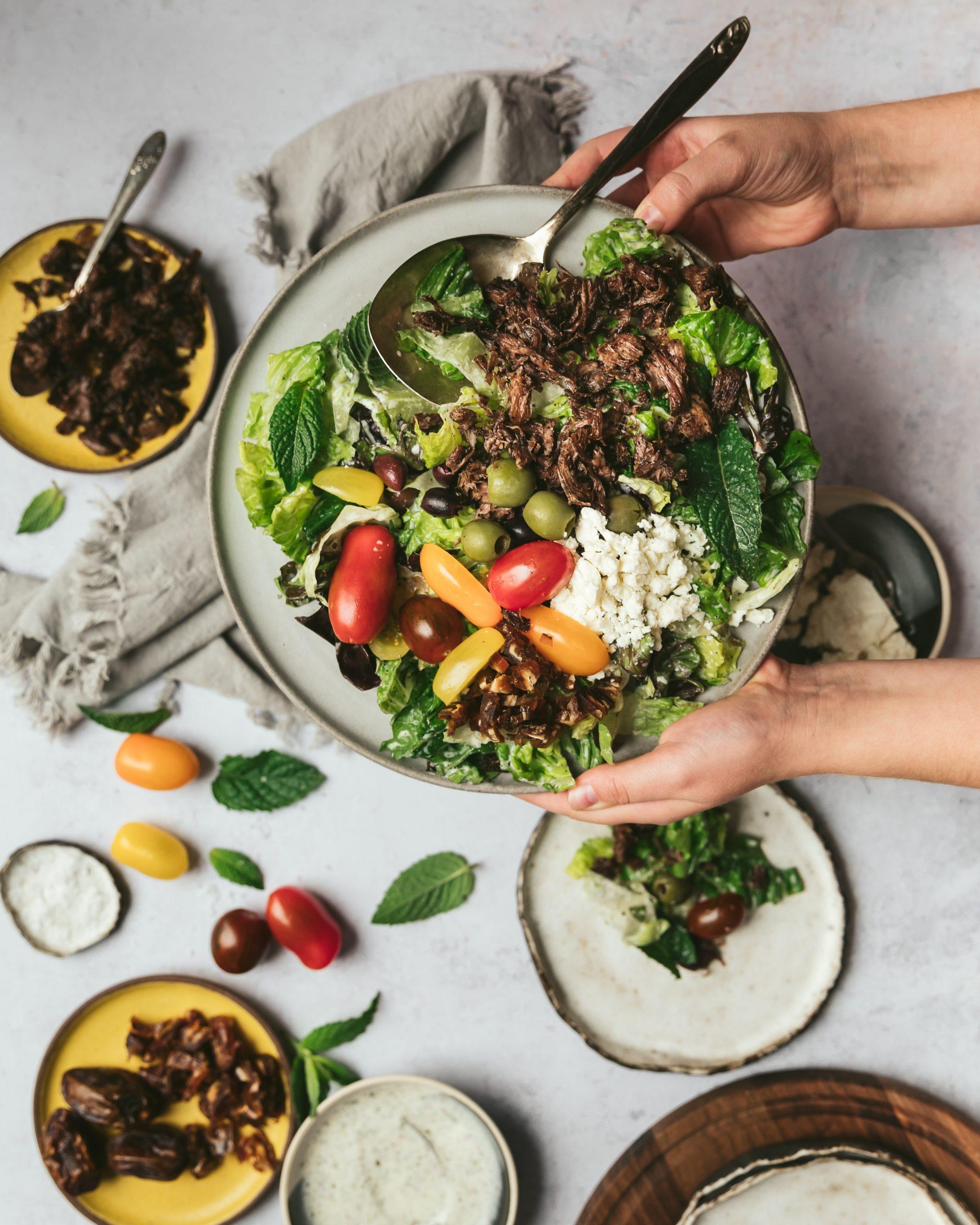 Crispy Lamb Salad with Yogurt Dressing