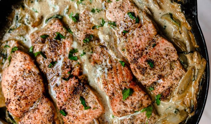 Pan Seared Salmon with Arugula and Cream Sauce