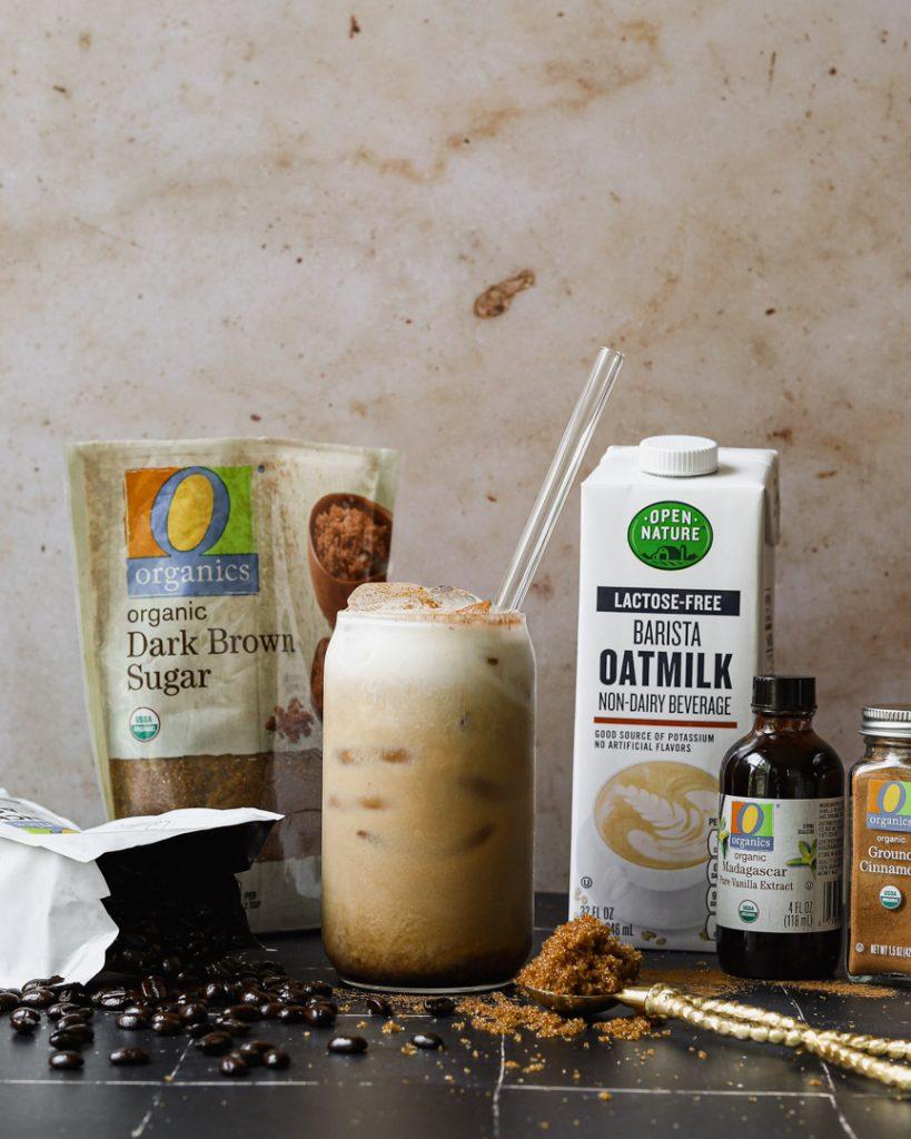 iced brown sugar oat milk shaken espresso latte