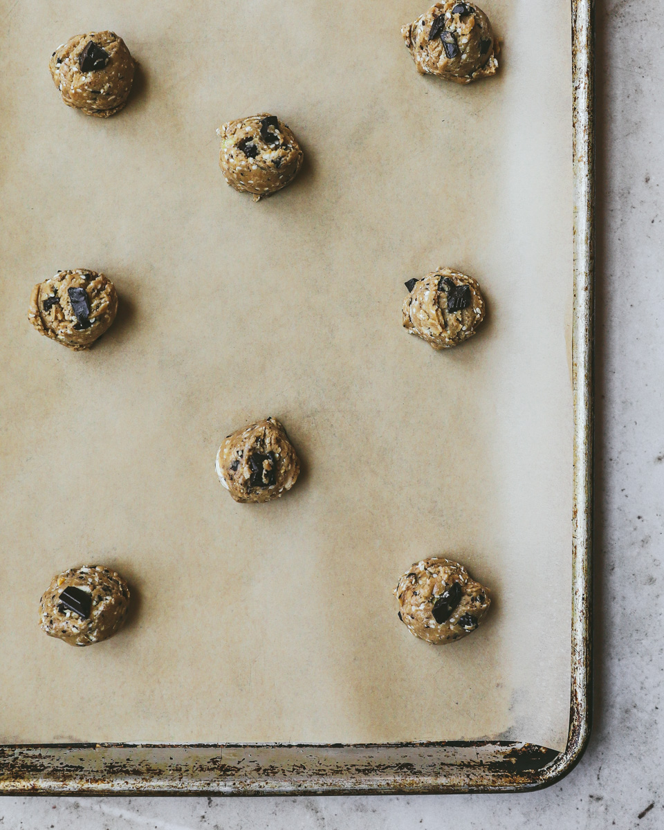 Cookie sheet with cookie dough balls