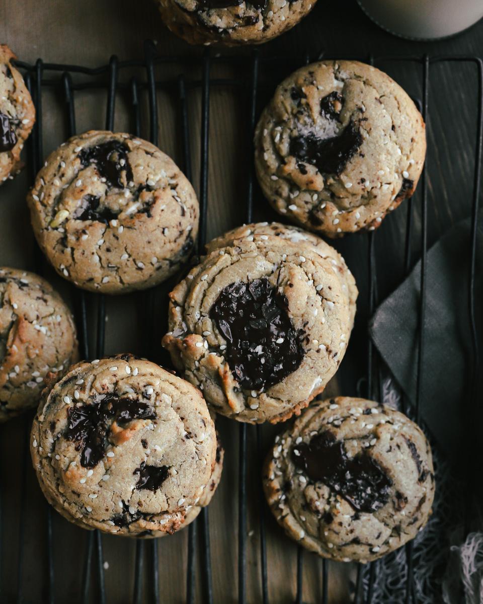 Chocolate Sesame Tahini Cookies on a rack