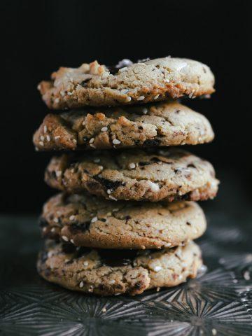 Stack of Chocolate Tahini Sesame Cookies